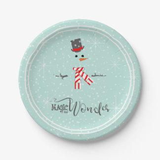 Assiettes En Papier Menthe ID440 de bonhomme de neige de Noël de magie