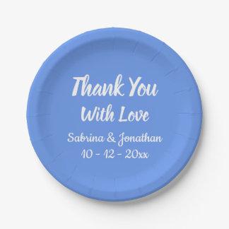 Assiettes En Papier Merci bleu de bleuet épousant, douche nuptiale
