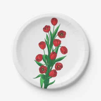 Assiettes En Papier Merci floral de tulipes rouges épousant des fleurs