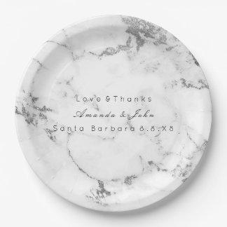 Assiettes En Papier Minimal argenté gris en pierre de marbre blanc de