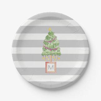 Assiettes En Papier Monogramme à la mode d'arbre de Noël, décor de