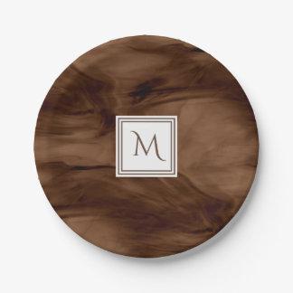Assiettes En Papier Monogramme moderne de marbre subtil foncé simple