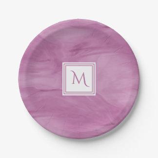 Assiettes En Papier Monogramme moderne de marbre subtil mauve-clair