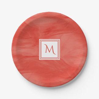 Assiettes En Papier Monogramme moderne de marbre subtil orange rouge