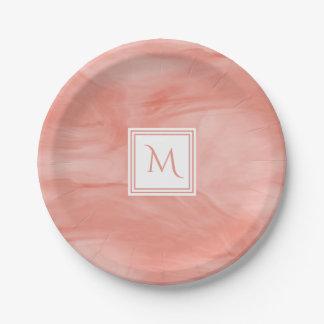 Assiettes En Papier Monogramme moderne de marbre subtil rose de corail