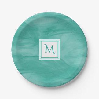 Assiettes En Papier Monogramme moderne de marbre subtil vert turquoise