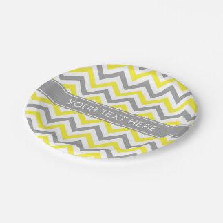 Assiettes En Papier Monogramme nommé gris gris jaune d'atterrisseur