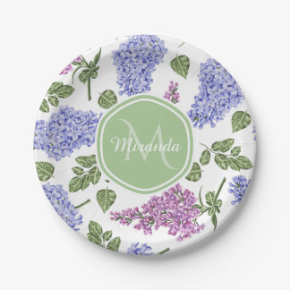 Assiettes En Papier Monogramme vert en pastel floral lilas de lavande