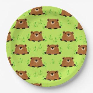 Assiettes En Papier Motif adorable de Groundhog de région boisée