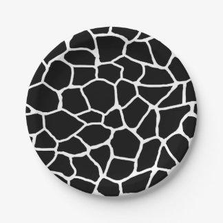 Assiettes En Papier Motif animal d'impression noir et blanc de girafe