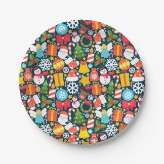 Assiettes En Papier Motif animated coloré d'icône de caractère de Noël