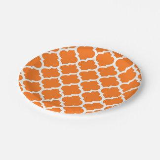 Assiettes En Papier Motif blanc orange #5 de Quatrefoil de Marocain de