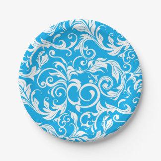 Assiettes En Papier Motif bleu tropical de remous de papier peint