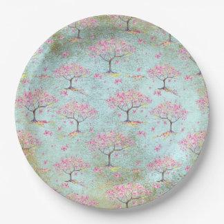 Assiettes En Papier Motif brillant de ressort de fleurs de cerisier