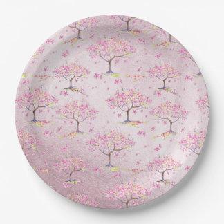 Assiettes En Papier Motif brillant rose de ressort de fleurs de