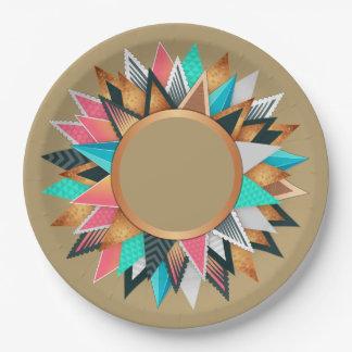 Assiettes En Papier Motif bronzage d'Aqua géométrique mexicain aztèque