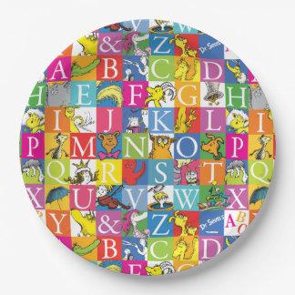 Assiettes En Papier Motif coloré de caractère gras d'ABC de Dr.