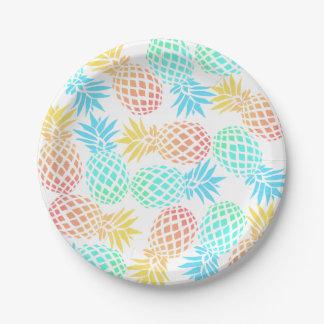 Assiettes En Papier motif coloré tropical d'ananas d'été élégant