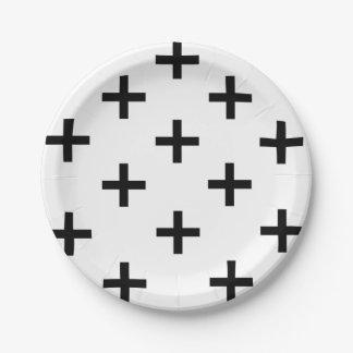 Assiettes En Papier Motif croisé suisse noir et blanc moderne