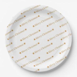 Assiettes En Papier Motif de Joyeux Noël de typographie de Noël
