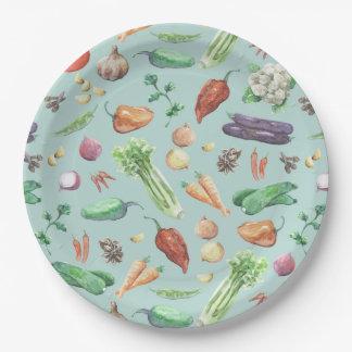 Assiettes En Papier Motif de légume et d'épices d'aquarelle