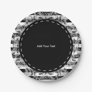 Assiettes En Papier Motif | de Paisley et de rayures noir, blanc et