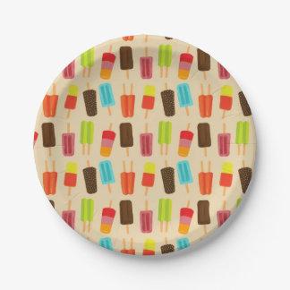 Assiettes En Papier Motif de partie de Popsicles colorés d'amusement