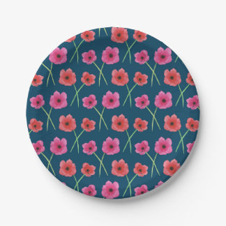 Assiettes En Papier Motif de peinture d'aquarelle de fleur d'anémone