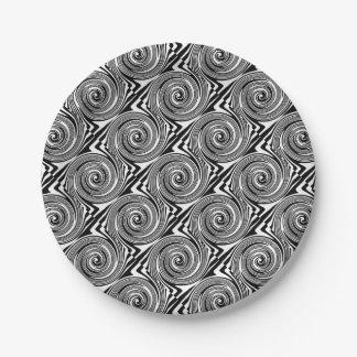 Assiettes En Papier Motif de tourbillonnement noir et blanc