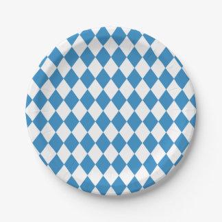 Assiettes En Papier Motif géométrique bavarois pour Oktoberfest.