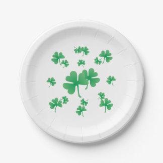 Assiettes En Papier Motif irlandais vert de shamrock de gradient