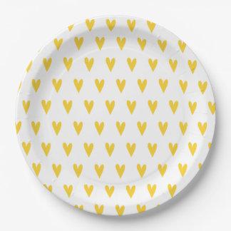Assiettes En Papier Motif jaune de coeurs