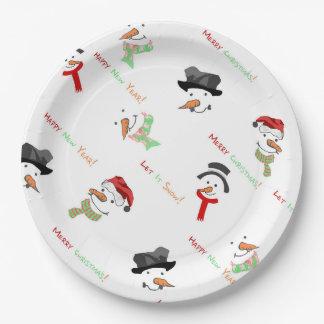 Assiettes En Papier Motif lunatique de bonhomme de neige de Noël