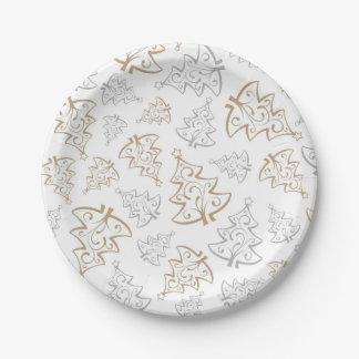 Assiettes En Papier Motif minimaliste d'arbre de Noël d'or et d'argent
