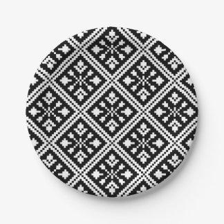 Assiettes En Papier Motif noir et blanc de flocons de neige de Noël