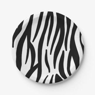 Assiettes En Papier Motif noir et blanc moderne de rayures de zèbre