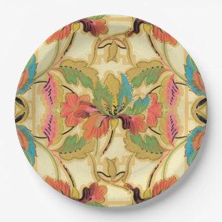 Assiettes En Papier Motif orange vintage de papier peint floral de