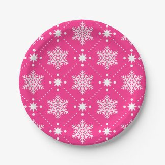 Assiettes En Papier Motif rose et blanc Girly de Noël de flocons de