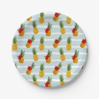 Assiettes En Papier Motif sans couture d'ananas hawaïen d'été