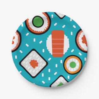 Assiettes En Papier Motif sans couture de bande dessinée de sushi de