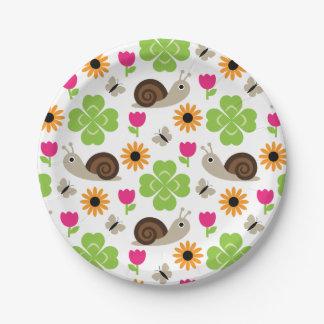 Assiettes En Papier Motif sans couture d'escargot et de trèfle