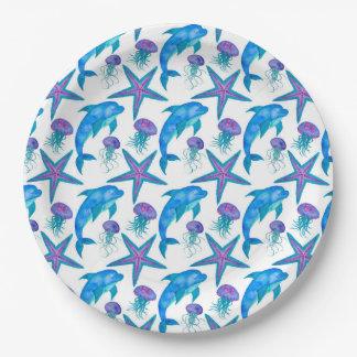 Assiettes En Papier Motif tiré par la main de dauphins
