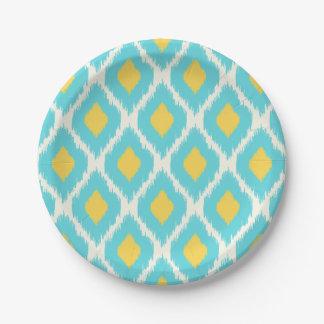 Assiettes En Papier Motif tribal aztèque jaune bleu à la mode d'Ikat