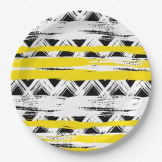 Assiettes En Papier Motif tribal de rayures jaunes blanches noires