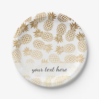 Assiettes En Papier motif tropical d'ananas d'or élégant de faux