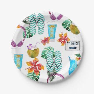 Assiettes En Papier Motif tropical de plage d'aquarelle moderne