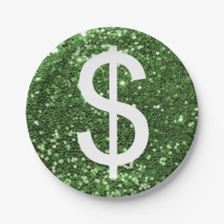 Assiettes En Papier Motif vert de symbole dollar de scintillement de