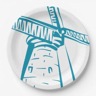 Assiettes En Papier Moulin à vent de la Hollande dans le bleu