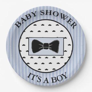 Assiettes En Papier Moustache de baby shower et plats bleus de Bowtie