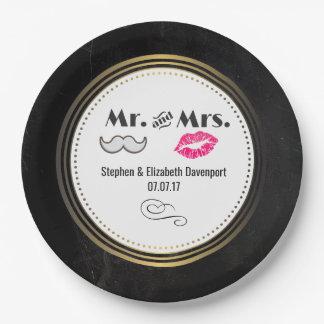 Assiettes En Papier Moustache et lèvres M. et Mme Black et mariage
